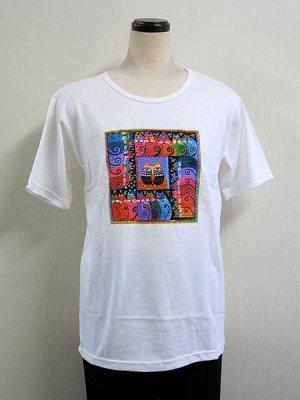 画像1: 【ローレル・バーチ】猫のTシャツ Feline Rainbow ホワイト 40%OFF
