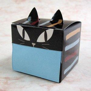 画像1: 猫型のキューブ付箋 ブラッック