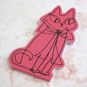 画像1: 猫型のダイカット・メモ ピンク