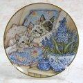 【デビー・クック】猫の絵皿 Three in a Row : Vintage