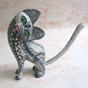 画像1: 【オアハカの木彫り】猫の置き物 #2