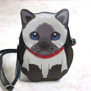画像1: 【Sleepyville Critters】猫のクロスボディ・バッグ(シャム猫)