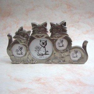 画像1: 猫のフォト・フレーム(pewter8)