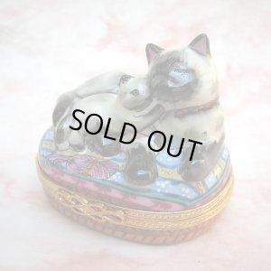 画像1: 【リモージュ・ボックス】Persian Cat and Kitten on Pillow 40% 0FF